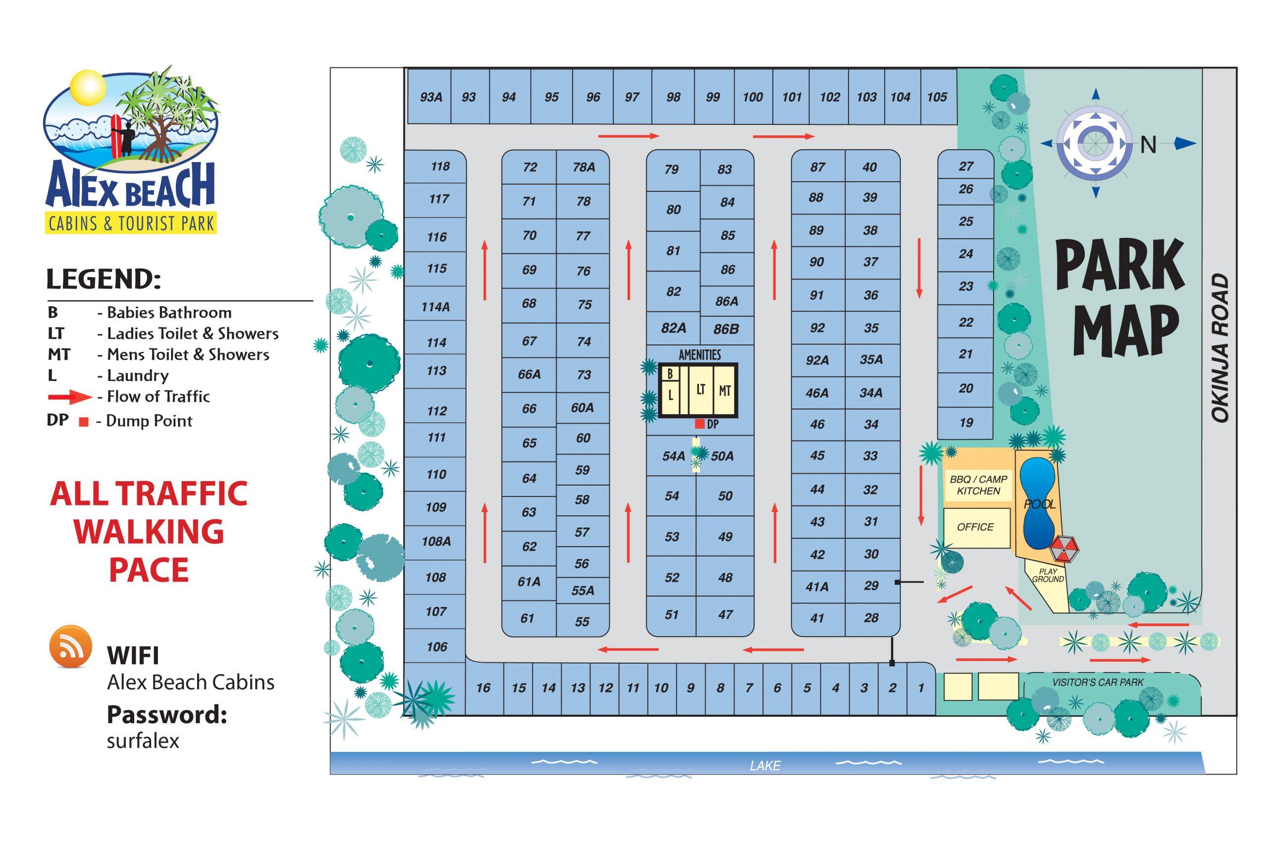 Alex Beach Cabins Park Map Compressed