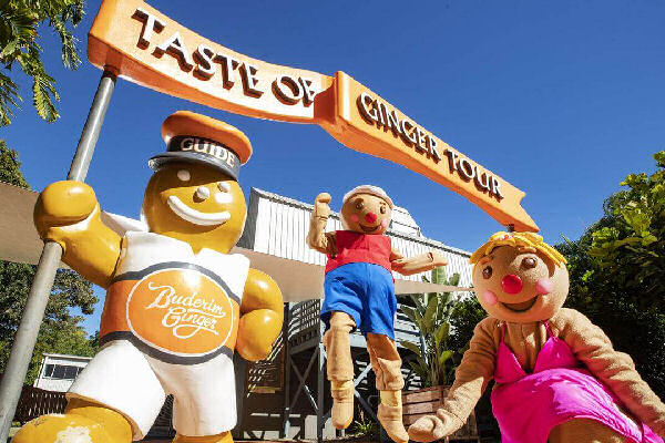 The entrance to the Taste of Ginger Tour at the Ginger Factory and their 2 gingerbread people mascots
