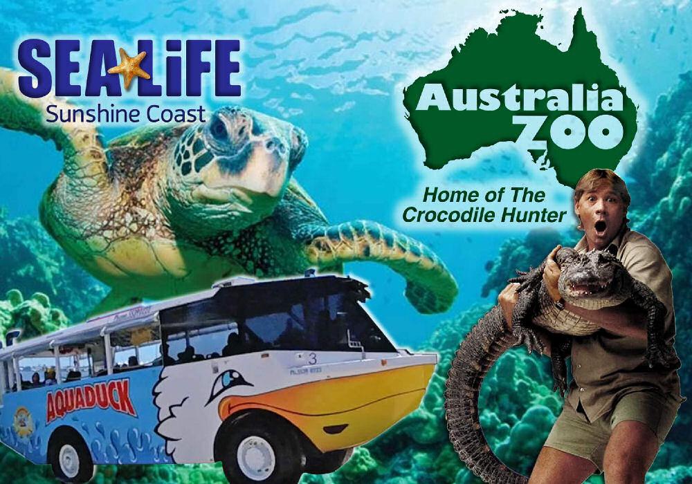 Image with Sea Life Sunshine Coast logo Australia Zoo logo and Aquaduck bus