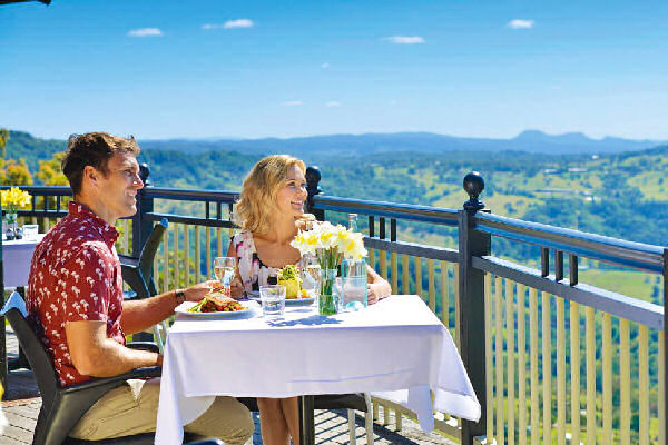 a couple dining at a restaurant overlooking the valley at Montville
