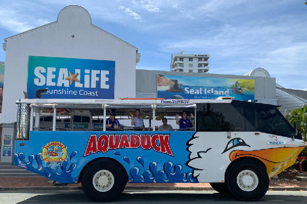 The Aquaduck parked at the front of Sea Life Sunshine Coast